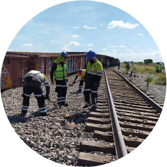 Identificando infraestructura ferroviaria en curso.